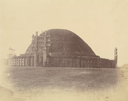 General view of the Great Stupa from the north, showing repairs, Sanchi, Bhopal State